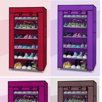 Tủ vải để giày dép 6 tầng màu ghi Free ship nội thành hà nội