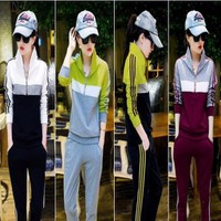 Đồ thể thao nữ áo khoác và quần dài sọc màu QATT290