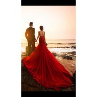 áo cưới đuôi cá đỏ đô đuôi dai 3m chân ren hinh that kháchđa mua