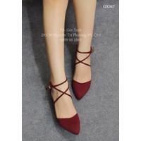 Giày gót vuông mũi nhọn cột dây màu đỏ-GX367