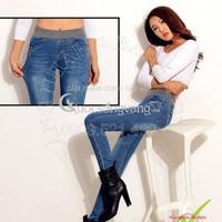 Hàng nhập-Quần jeans cạp cao co giãn lưng thun thể thao GLQ009