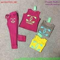 Bộ thể thao nữ Chanel áo 3 lỗ quần dài sành điệu bQATT321