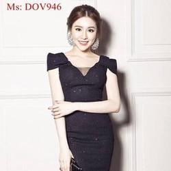Đầm ôm tay con phồng phối lưới chất liệu thun ánh kim  DOV946