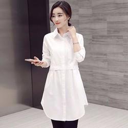 HÀNG ĐỦ SIZE: Đầm suông cổ sơ mi phối túi phong cách Hàn Quốc