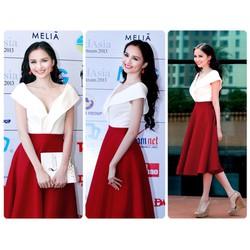 Set Thiết Kế Áo Trễ Vai Váy Đỏ Xòe Cách Điệu HH Diễm Hương MT-D479