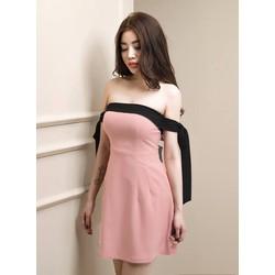 Đầm cúp ngực hồng phối đen 1557
