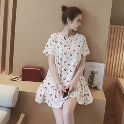Đầm suông ngắn tay trẻ trung,họa tiết chery nổi bật,chất liệu mát-D012