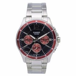 Đồng hồ Casio chính hãng chạy 6 kim, mặt màu đỏ  1374D-5A