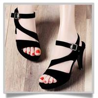 Giày cấp gót nhung đen KT080+ freeship vnpt