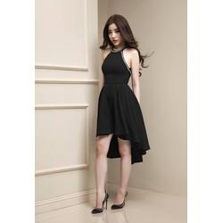 Đầm xoè đen đính pha lê 1498