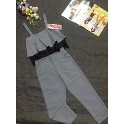 Set áo 2 dây bèo phối ren và quần lửng