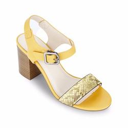 Giày Sandals Cao Gót Vân Da Rắn Mirabella 668 Vàng