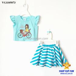 Set áo croptop chân váy màu xanh size 1-8
