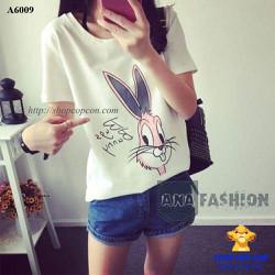 Áo hình thỏ bunny màu trắng