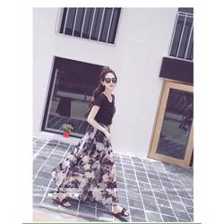 Set Áo Thun Chân Váy Hoa