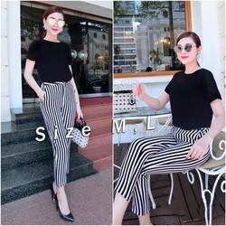Set nguyên bộ áo đen quần sọc trắng đen Bạch Nguyễn - SET694