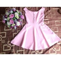 Váy đầm xòe trễ vai màu hồng size M