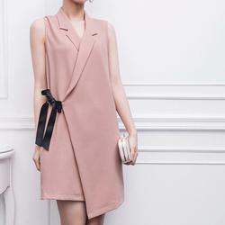 Đầm vest phối nơ hồng pastel ngọt