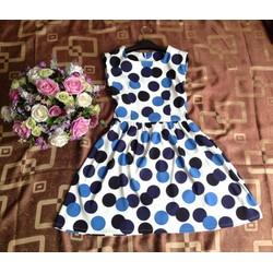 Váy đầm chấm bi xanh đen size M