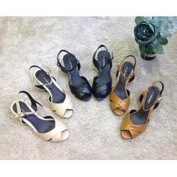 Giày sandal cao gót Nine West quai chéo gót vuông 5cm