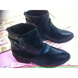 Giày boot da nữ thu đông cổ cao khóa kéo sành điệu GUBB95