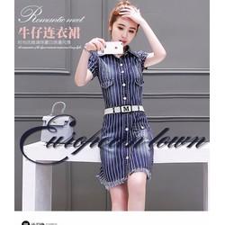 Đầm jean sọc phối túi cá tính không kèm belt - MH081220