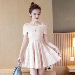 Đầm xòe họa tiết bi