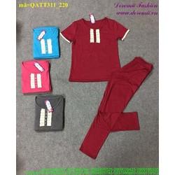 Bộ thể thao nữ áo ngắn tay phối ren quần dài sành điệu bQATT311