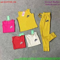 Bộ thể thao nữ áo 3 lỗ quần dài năng động bQATT320