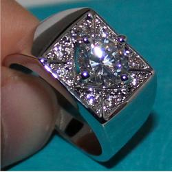 Nhẫn nam cao cấp mặt vuông đính kim cương