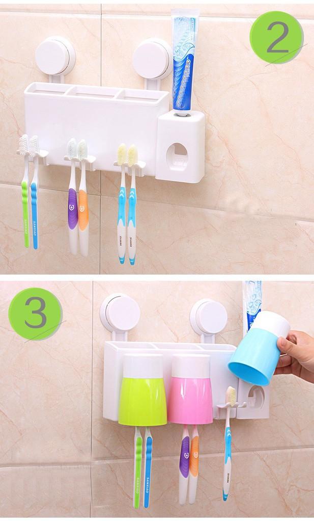 Bộ nhả kem đánh răng tự động gắn tường kèm 3 cốc 5