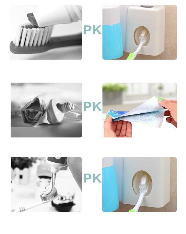 Bộ nhả kem đánh răng tự động gắn tường kèm 3 cốc 9