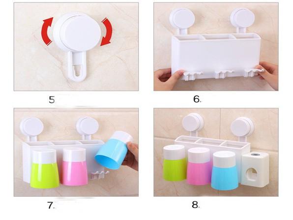 Bộ nhả kem đánh răng tự động gắn tường kèm 3 cốc 11