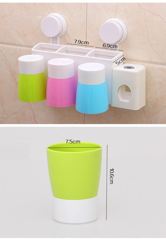 Bộ nhả kem đánh răng tự động gắn tường kèm 3 cốc 8