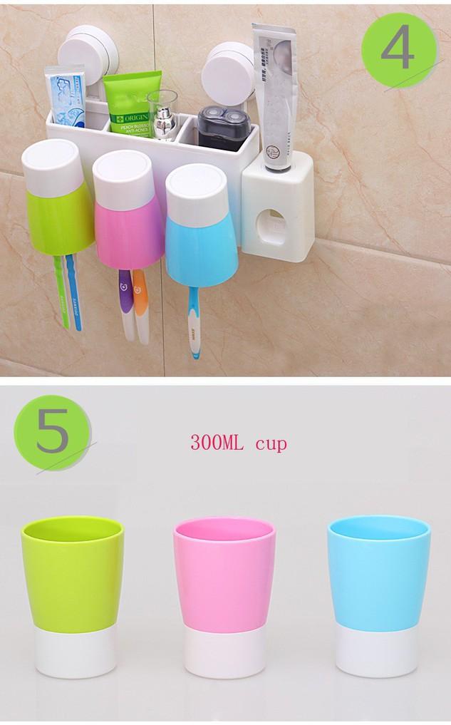 Bộ nhả kem đánh răng tự động gắn tường kèm 3 cốc 6