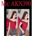 Áo thun nữ kiểu bẹt vai ngang dễ thương xinh đẹp AKN390