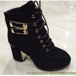 Giày da boot nữ thu đông khóa gài tinh tế sành điệu GUBB62