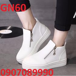 Giày thể thao nữ trắng phối kéo Poseidon cao 5cm - GN60