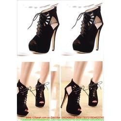 Giày boot da nhung thiết kế thắt dây sành điệu GUBB101