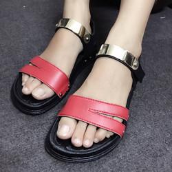 Giày sandals quai ngang màu đỏ SDQN19