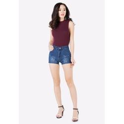 Quần Short Jeans Xước Nữ Cạp Cao
