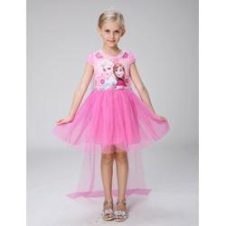 Đầm voan tà dài công chúa ELsa hồng mừng sinh nhật