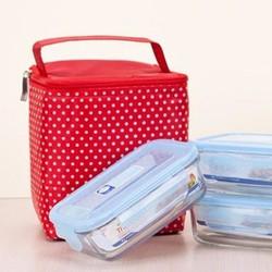 Bộ 3 hộp đựng thực phẩm Glass 400ml tặng kèm túi giữ nhiệt