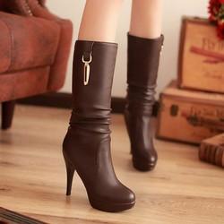 Giày boot nữ cổ cao phong cách Hàn Quốc B019N