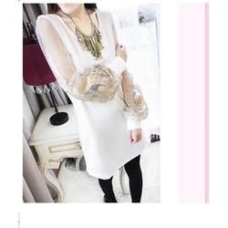 Đầm nữ dài tay thiết kế tôn dáng, cánh tay áo rộng, phối ren-D2832