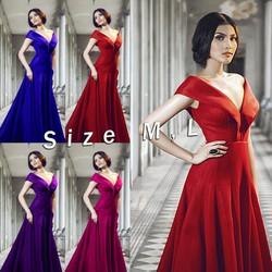 D947-Đầm dạ hội bẹt vai hở V sang trọng quyến rũ