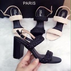 Giày sandal cao gót nữ 2 quai ngang tết sam - LN429