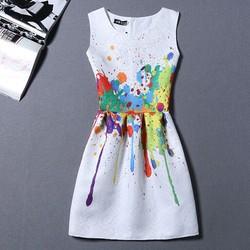 Váy liền vải xốp in hoa ôm thân ngắn tay - MU18328