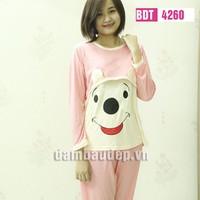 Bộ đồ bầu mặc nhà - Bộ dài gấu cười - BDT4260
