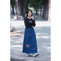 Váy Chống Nắng JEAN Cao Cấp KOREA - Hoa đỏ
